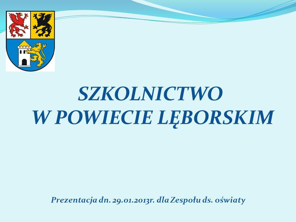 SZKOLNICTWO W POWIECIE LĘBORSKIM Prezentacja dn. 29.01.2013r. dla Zespołu ds. oświaty