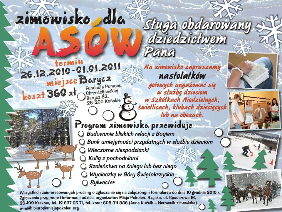 Zimowy obóz dla ASÓW w Baryczy koło Końskich 26 grudzień 2010 01styczeń 2011