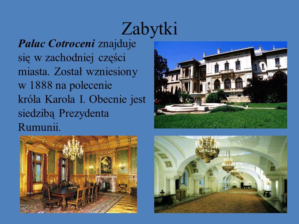 Zabytki Pałac Cotroceni znajduje się w zachodniej części miasta. Został wzniesiony w 1888 na polecenie króla Karola I. Obecnie jest siedzibą Prezydent