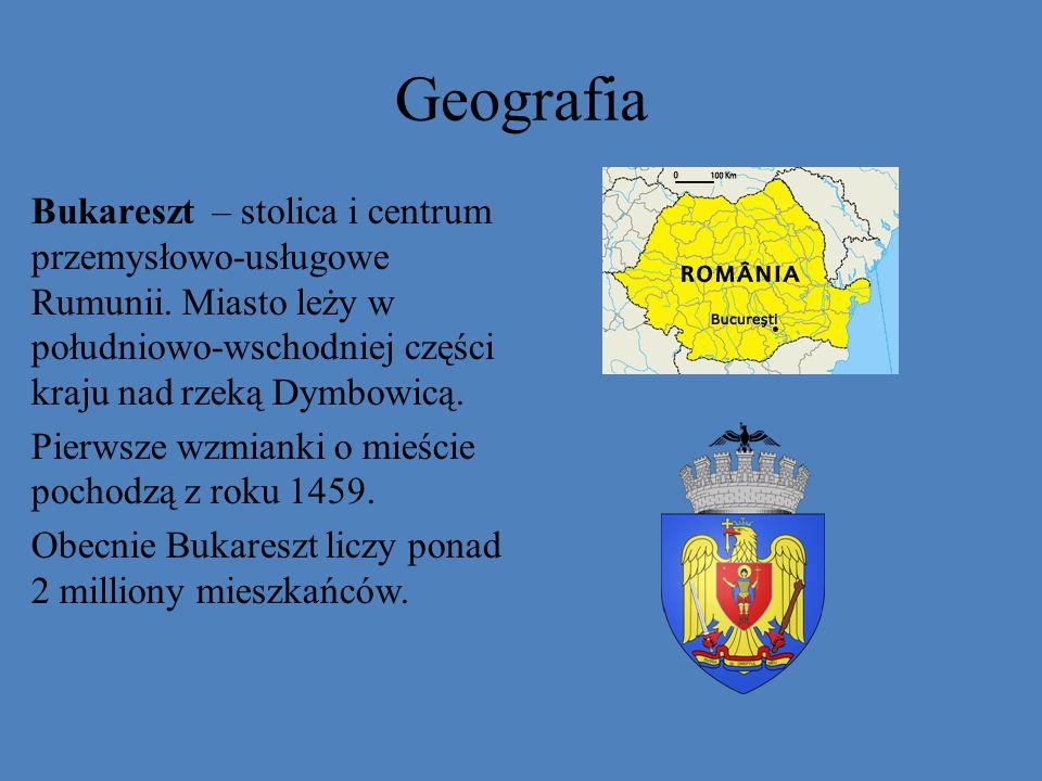 Geografia Bukareszt – stolica i centrum przemysłowo-usługowe Rumunii. Miasto leży w południowo-wschodniej części kraju nad rzeką Dymbowicą. Pierwsze w