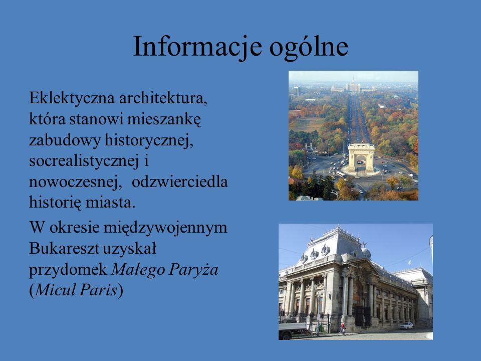 Informacje ogólne Eklektyczna architektura, która stanowi mieszankę zabudowy historycznej, socrealistycznej i nowoczesnej, odzwierciedla historię mias
