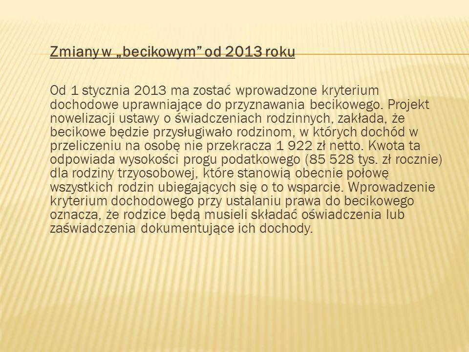 Zmiany w becikowym od 2013 roku Od 1 stycznia 2013 ma zostać wprowadzone kryterium dochodowe uprawniające do przyznawania becikowego. Projekt noweliza