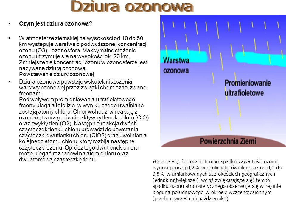 Czym jest dziura ozonowa? W atmosferze ziemskiej na wysokości od 10 do 50 km występuje warstwa o podwyższonej koncentracji ozonu (O3) - ozonosfera. Ma
