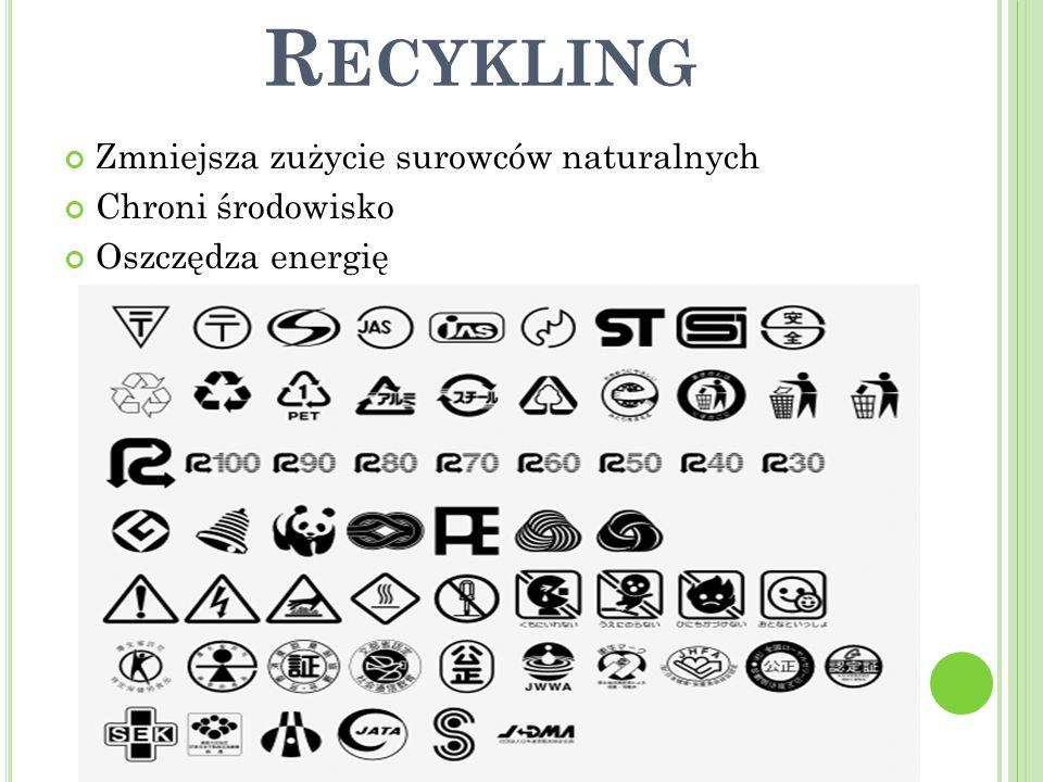 R ECYKLING Zmniejsza zużycie surowców naturalnych Chroni środowisko Oszczędza energię