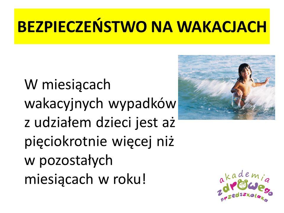 BEZPIECZEŃSTWO NA WAKACJACH W miesiącach wakacyjnych wypadków z udziałem dzieci jest aż pięciokrotnie więcej niż w pozostałych miesiącach w roku!