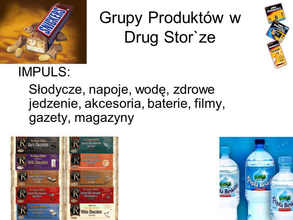 Grupy Produktów w Drug Stor`ze IMPULS: Słodycze, napoje, wodę, zdrowe jedzenie, akcesoria, baterie, filmy, gazety, magazyny