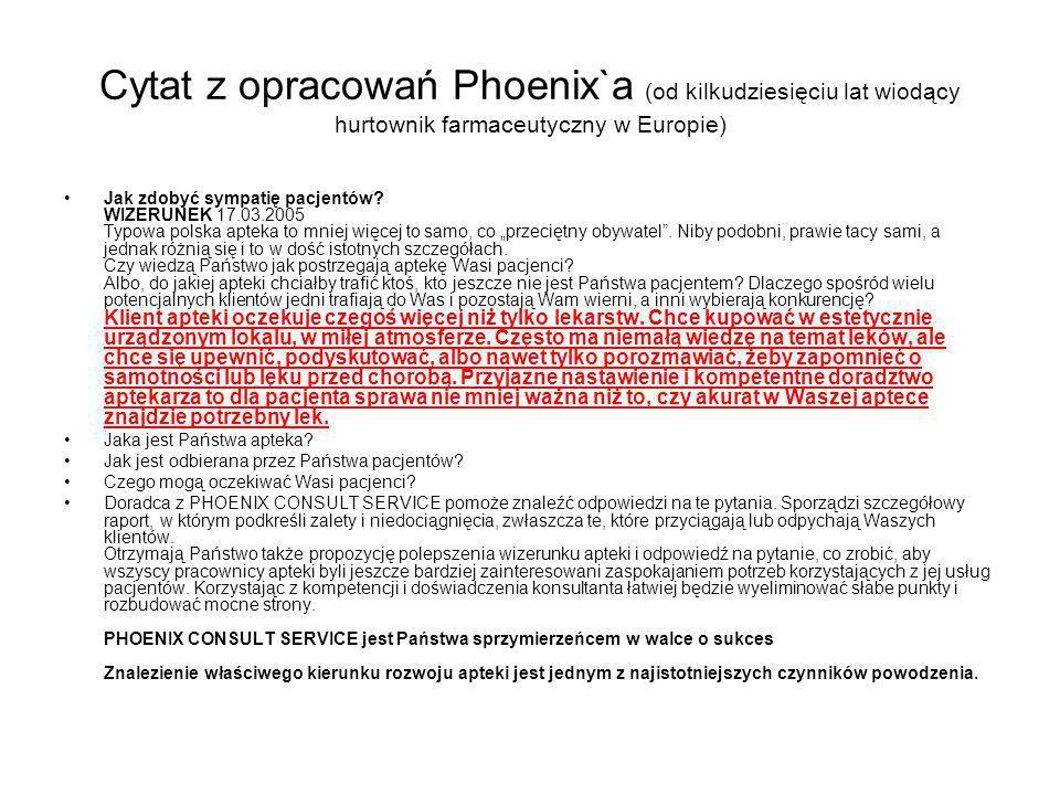 Cytat z opracowań Phoenix`a (od kilkudziesięciu lat wiodący hurtownik farmaceutyczny w Europie) Jak zdobyć sympatię pacjentów? WIZERUNEK 17.03.2005 Ty