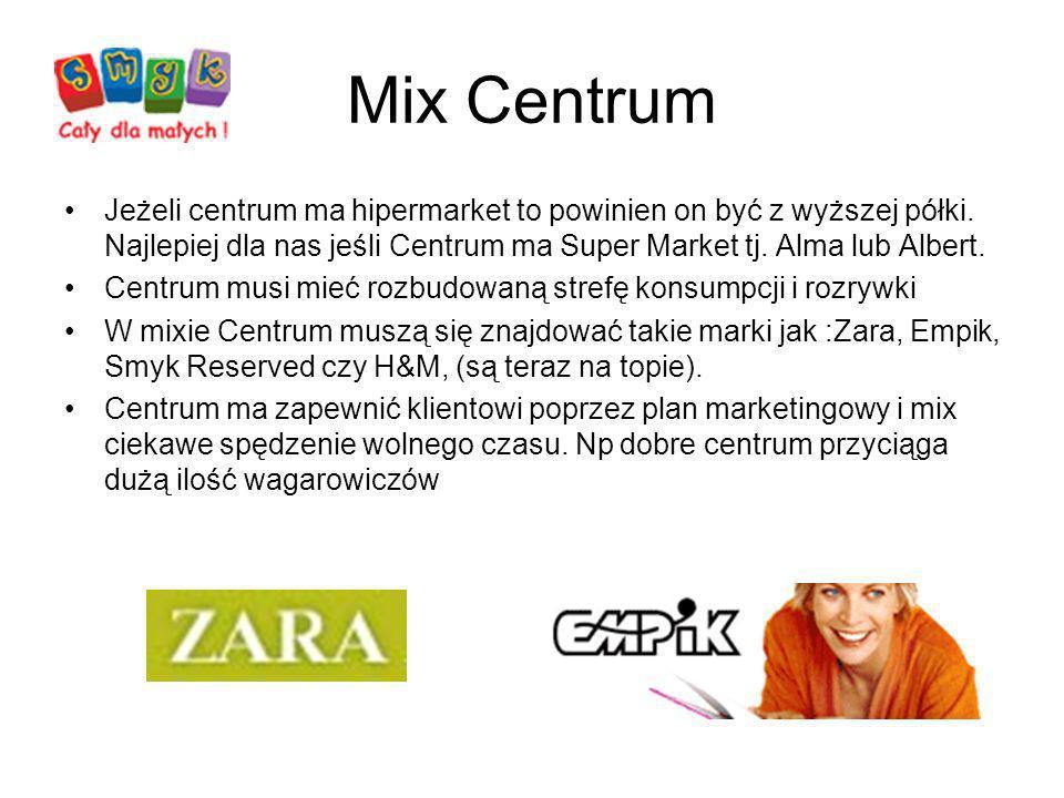 Mix Centrum Jeżeli centrum ma hipermarket to powinien on być z wyższej półki. Najlepiej dla nas jeśli Centrum ma Super Market tj. Alma lub Albert. Cen