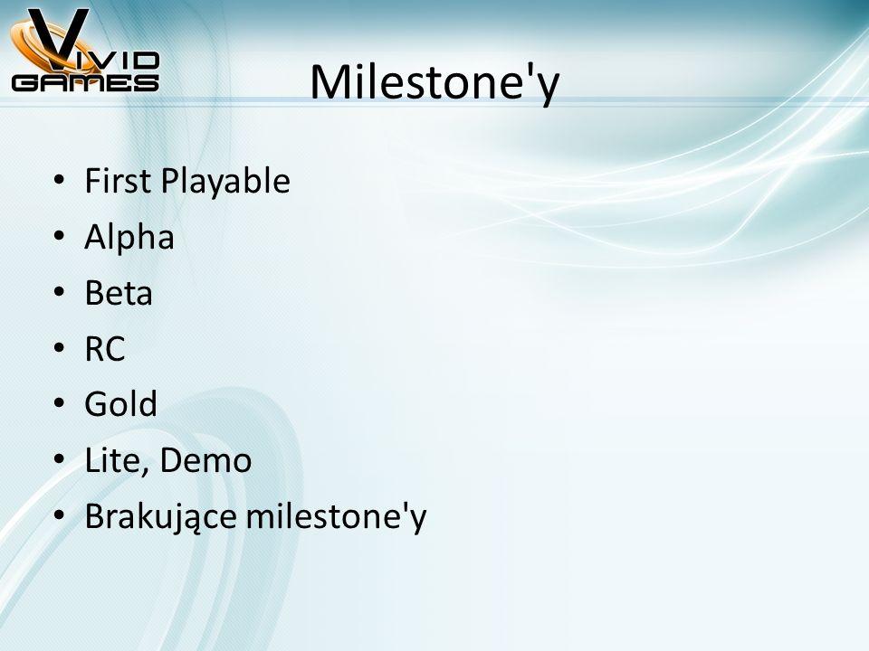 Milestone'y First Playable Alpha Beta RC Gold Lite, Demo Brakujące milestone'y