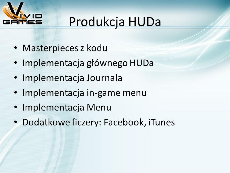 Produkcja HUDa Masterpieces z kodu Implementacja głównego HUDa Implementacja Journala Implementacja in-game menu Implementacja Menu Dodatkowe ficzery:
