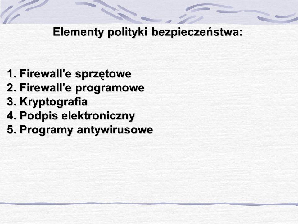 Elementy polityki bezpieczeństwa: 1. Firewall'e sprzętowe 2. Firewall'e programowe 3. Kryptografia 4. Podpis elektroniczny 5. Programy antywirusowe