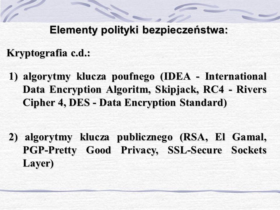 Elementy polityki bezpieczeństwa: Kryptografia c.d.: 1) algorytmy klucza poufnego (IDEA - International Data Encryption Algoritm, Skipjack, RC4 - Rive