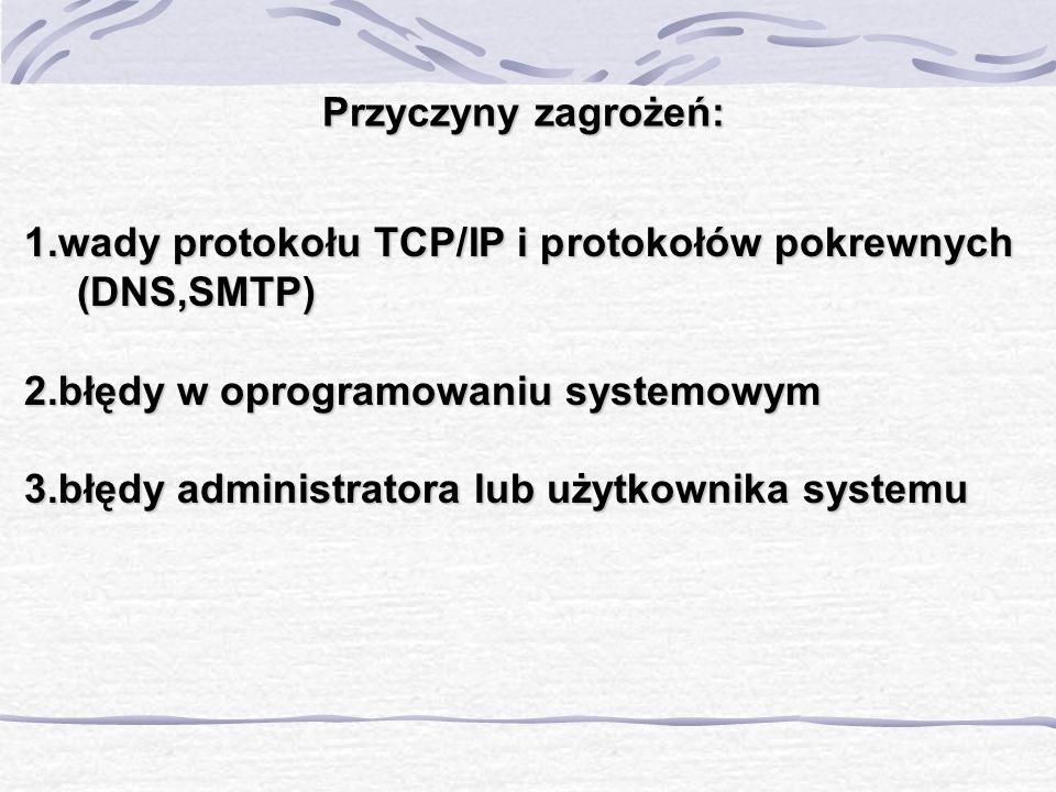 Przyczyny zagrożeń: 1.wady protokołu TCP/IP i protokołów pokrewnych (DNS,SMTP) 2.błędy w oprogramowaniu systemowym 3.błędy administratora lub użytkown