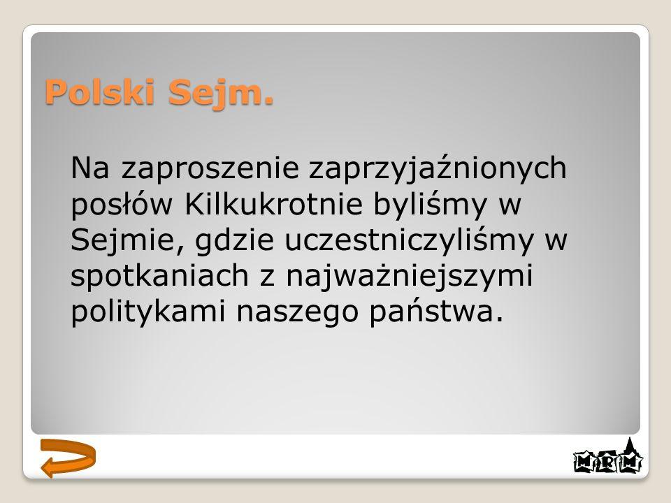 Polski Sejm. Na zaproszenie zaprzyjaźnionych posłów Kilkukrotnie byliśmy w Sejmie, gdzie uczestniczyliśmy w spotkaniach z najważniejszymi politykami n
