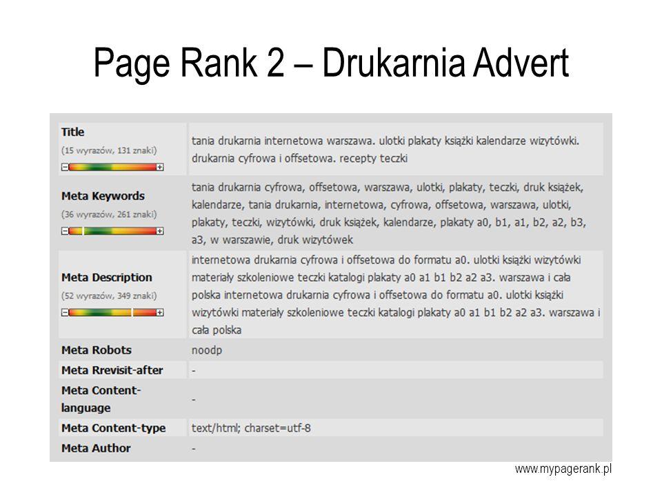Page Rank 2 – Drukarnia Advert www.mypagerank.pl