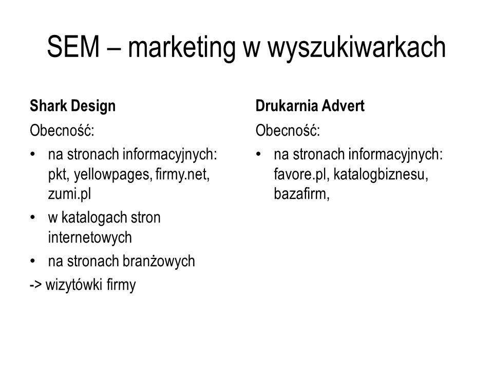 SEM – marketing w wyszukiwarkach Shark Design Obecność: na stronach informacyjnych: pkt, yellowpages, firmy.net, zumi.pl w katalogach stron internetow