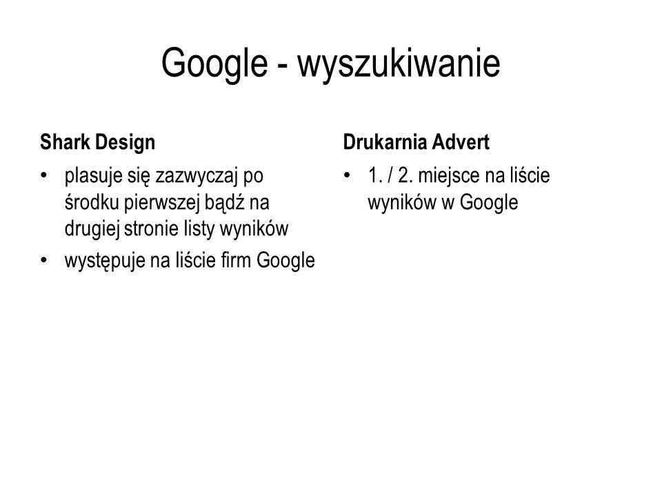 Google - wyszukiwanie Shark Design plasuje się zazwyczaj po środku pierwszej bądź na drugiej stronie listy wyników występuje na liście firm Google Dru