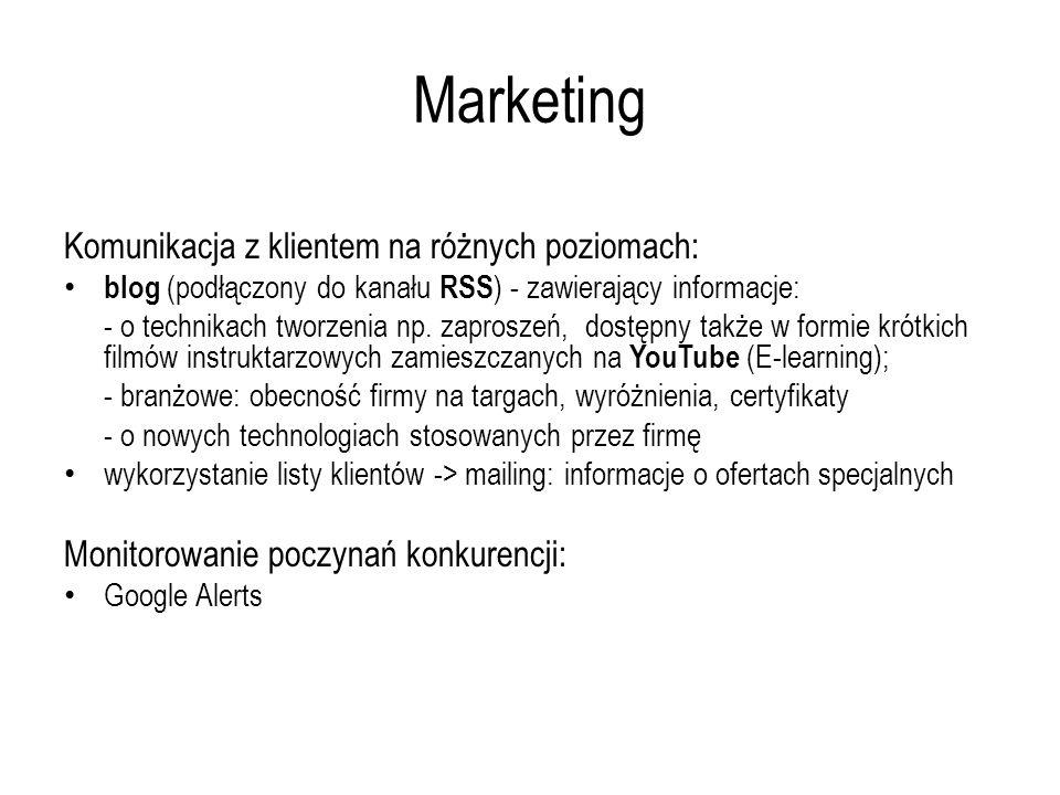 Marketing Komunikacja z klientem na różnych poziomach: blog (podłączony do kanału RSS ) - zawierający informacje: - o technikach tworzenia np. zaprosz