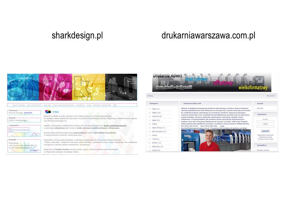 mało czytelne logo standardowy pasek menu; słabo widoczne litery (kolor, wielkość czcionki) promocje możliwość logowania dla stałych klientów dane kontaktowe Analiza big picture Shark Design informacje ogólne w widocznym miejscu informacje o możliwościach technicznych firmy próbka