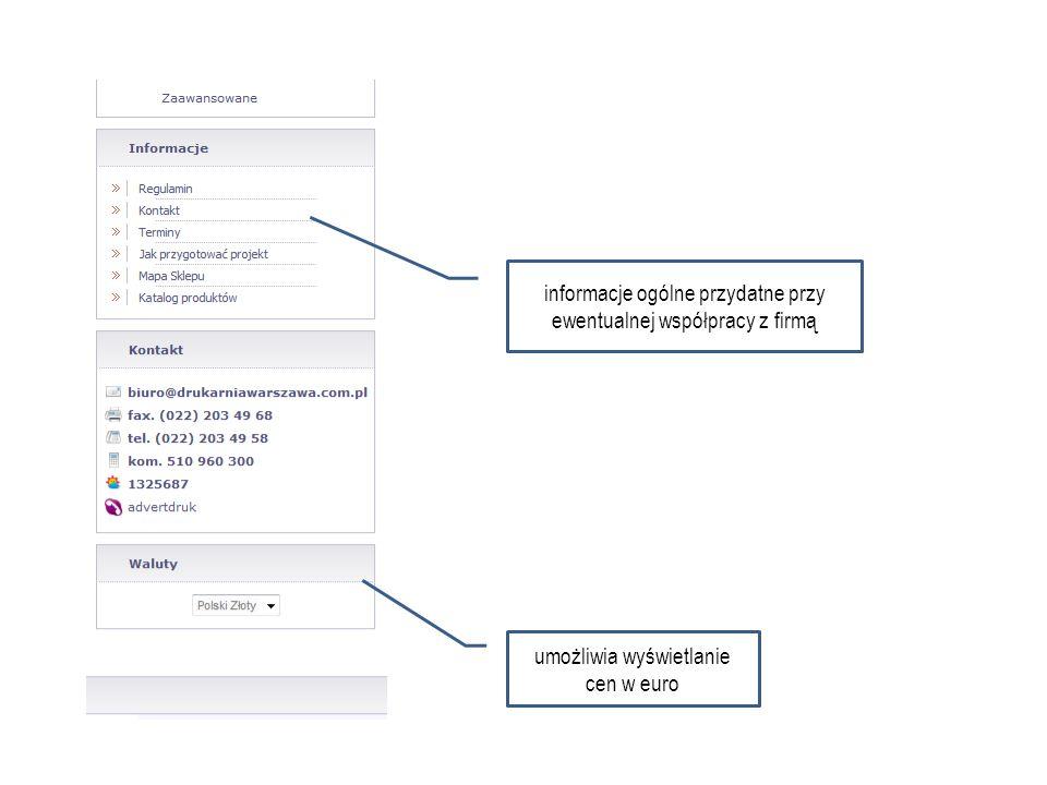 Ocena ogólna drukarni Advert + możliwość dokonywania zakupu online + krótka instrukcja, jak przygotować projekt do druku + koszyk oraz menu logowania umieszczone w widocznym / wygodnym miejscu + informacje o najlepiej sprzedających się produktach + przykłady dotychczasowych realizacji + regulamin dostępny na stronie + możliwość zobaczenia cen w euro + kolorystyka firmy nawiązuje do czterech podstawowych kolorów farb drukarskich CMYK (Cyan, Magneta, Yellow, BlacK) – zła kategoryzacja menu, brak logicznych zbiorów -> trudność w znalezieniu poszukiwanych elementów – zbyt długie menu – konieczność ciągłego przewijania – brak odnośnika do danych kontaktowych w górnej części strony (dopiero w prawym dolnym rogu) – niedokładnie opisane poszczególne kategorie