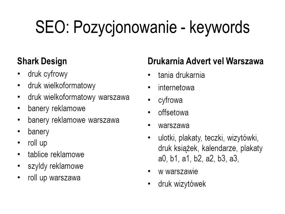 SEO: Pozycjonowanie - keywords Shark Design druk cyfrowy druk wielkoformatowy druk wielkoformatowy warszawa banery reklamowe banery reklamowe warszawa