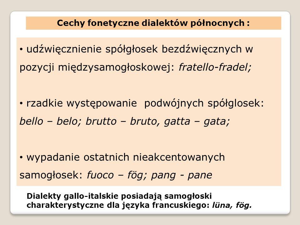 Cechy fonetyczne dialektów północnych : udźwięcznienie spółgłosek bezdźwięcznych w pozycji międzysamogłoskowej: fratello-fradel; rzadkie występowanie podwójnych spółglosek: bello – belo; brutto – bruto, gatta – gata; wypadanie ostatnich nieakcentowanych samogłosek: fuoco – fög; pang - pane Dialekty gallo-italskie posiadają samogłoski charakterystyczne dla języka francuskiego: lüna, fög.