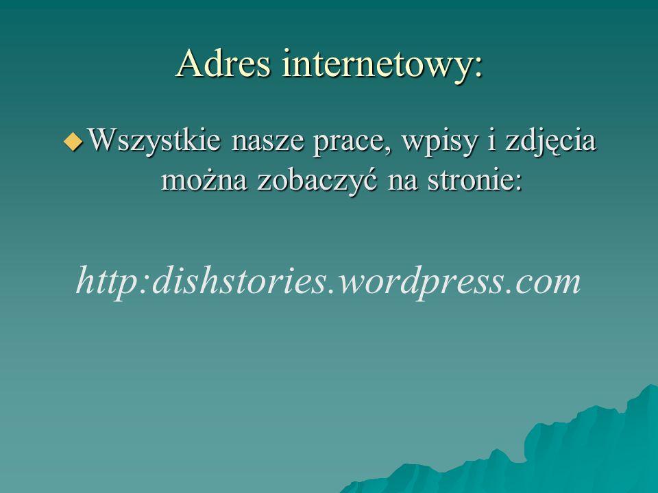 Adres internetowy: Wszystkie nasze prace, wpisy i zdjęcia można zobaczyć na stronie: Wszystkie nasze prace, wpisy i zdjęcia można zobaczyć na stronie: http:dishstories.wordpress.com