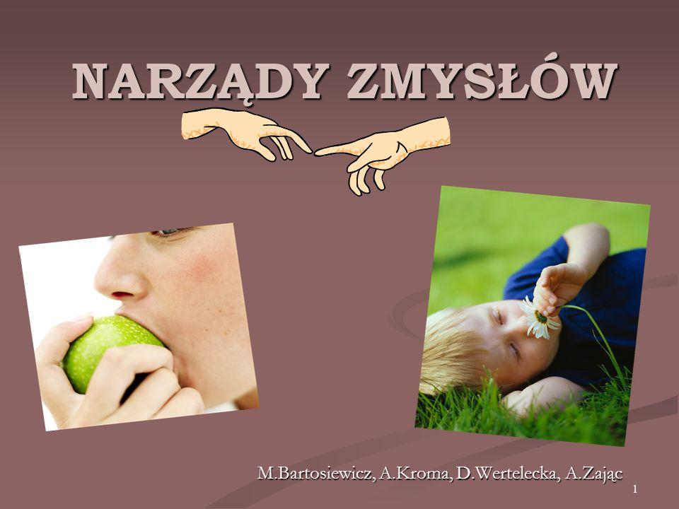 1 NARZĄDY ZMYSŁÓW M.Bartosiewicz, A.Kroma, D.Wertelecka, A.Zając