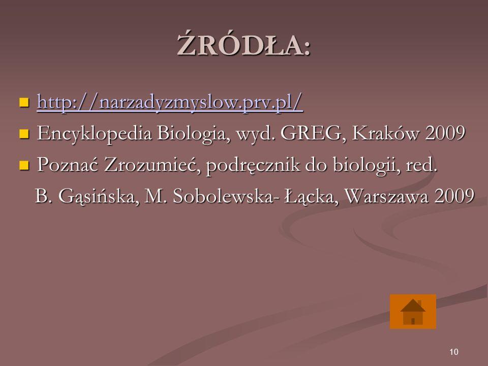 10 ŹRÓDŁA: http://narzadyzmyslow.prv.pl/ http://narzadyzmyslow.prv.pl/ http://narzadyzmyslow.prv.pl/ Encyklopedia Biologia, wyd.