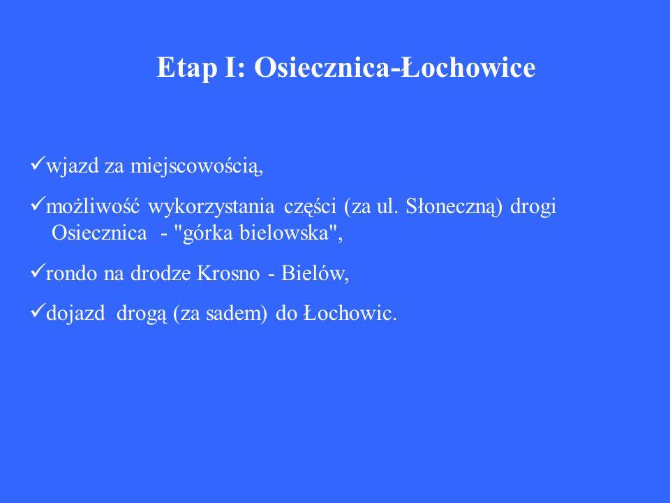 Etap I: Osiecznica-Łochowice wjazd za miejscowością, możliwość wykorzystania części (za ul. Słoneczną) drogi Osiecznica -