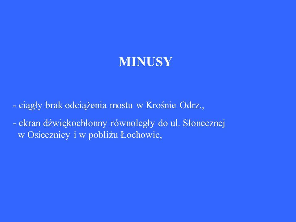 MINUSY - ciągły brak odciążenia mostu w Krośnie Odrz., - ekran dźwiękochłonny równoległy do ul. Słonecznej w Osiecznicy i w pobliżu Łochowic,
