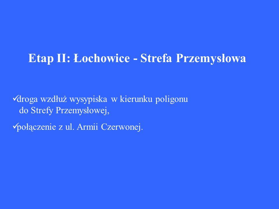 Etap II: Łochowice - Strefa Przemysłowa droga wzdłuż wysypiska w kierunku poligonu do Strefy Przemysłowej, połączenie z ul. Armii Czerwonej.