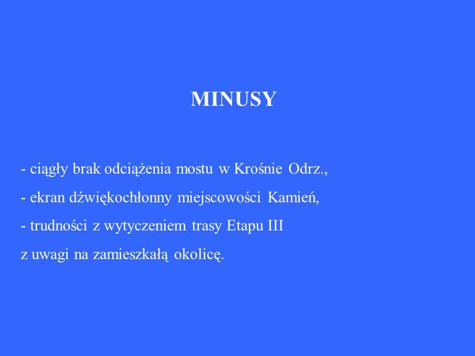 MINUSY - ciągły brak odciążenia mostu w Krośnie Odrz., - ekran dźwiękochłonny miejscowości Kamień, - trudności z wytyczeniem trasy Etapu III z uwagi n