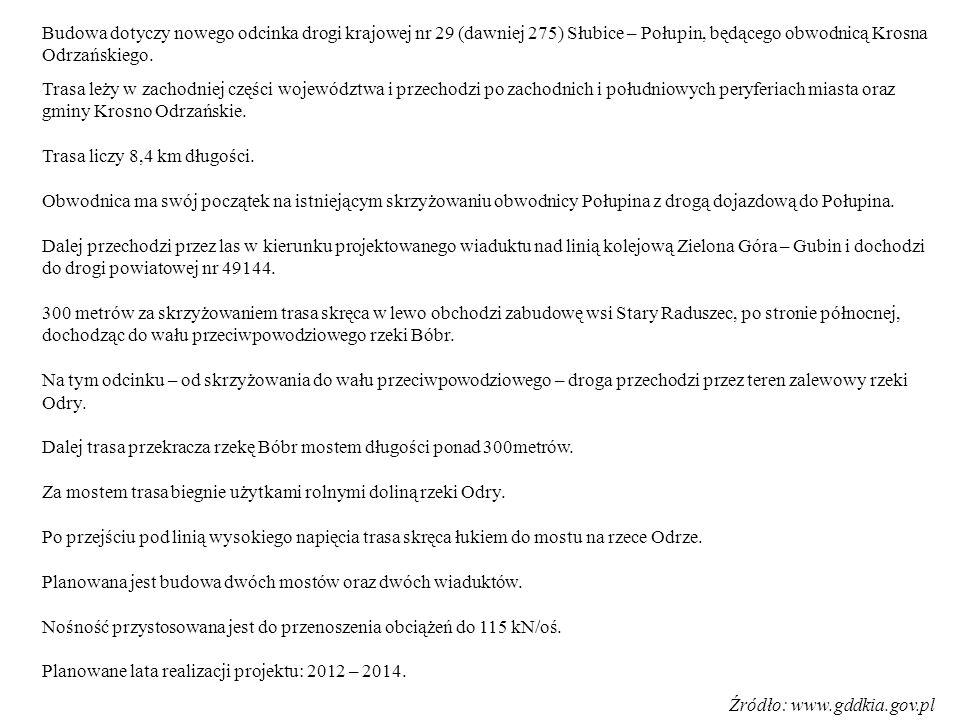 MINUSY - ciągły brak odciążenia mostu w Krośnie Odrz., - ekran dźwiękochłonny równoległy do ul.