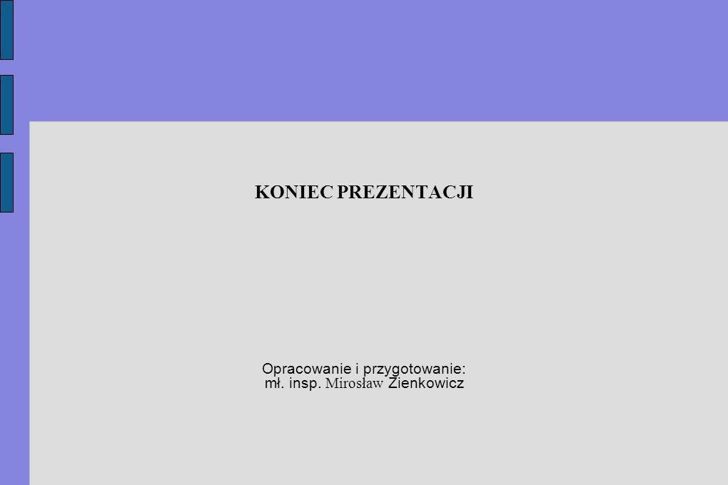 KONIEC PREZENTACJI Opracowanie i przygotowanie: mł. insp. Mirosław Zienkowicz