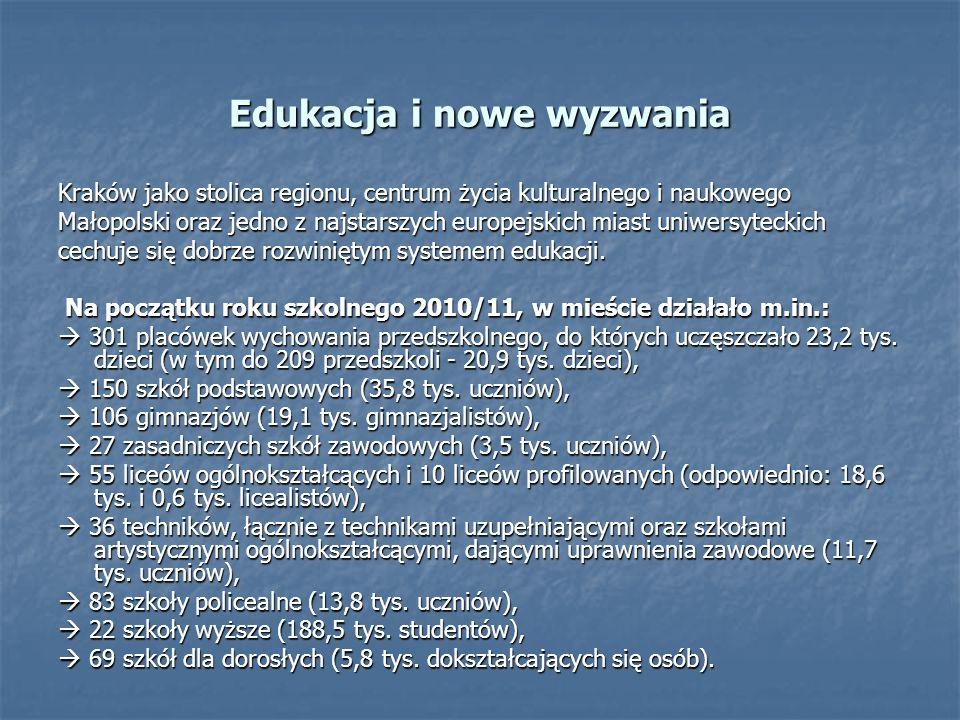 Kraków jako stolica regionu, centrum życia kulturalnego i naukowego Małopolski oraz jedno z najstarszych europejskich miast uniwersyteckich cechuje się dobrze rozwiniętym systemem edukacji.