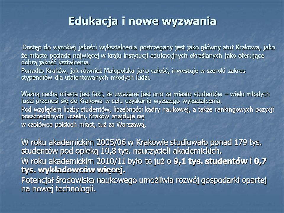 Edukacja i nowe wyzwania Dostęp do wysokiej jakości wykształcenia postrzegany jest jako główny atut Krakowa, jako że miasto posiada najwięcej w kraju instytucji edukacyjnych określanych jako oferujące dobrą jakość kształcenia.