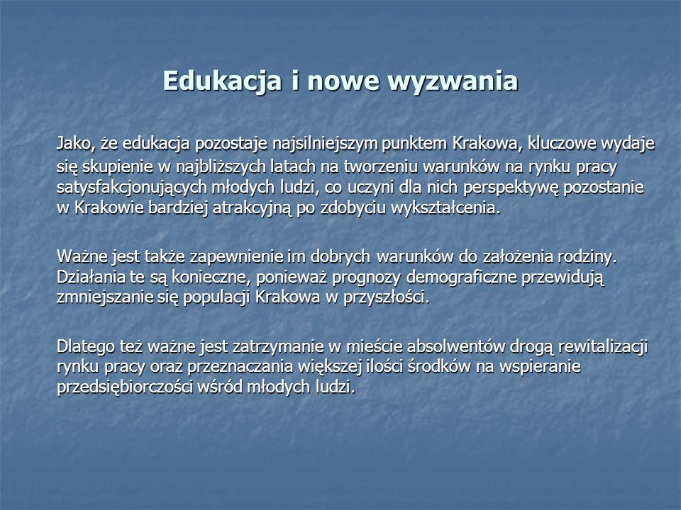 Jako, że edukacja pozostaje najsilniejszym punktem Krakowa, kluczowe wydaje się skupienie w najbliższych latach na tworzeniu warunków na rynku pracy satysfakcjonujących młodych ludzi, co uczyni dla nich perspektywę pozostanie w Krakowie bardziej atrakcyjną po zdobyciu wykształcenia.