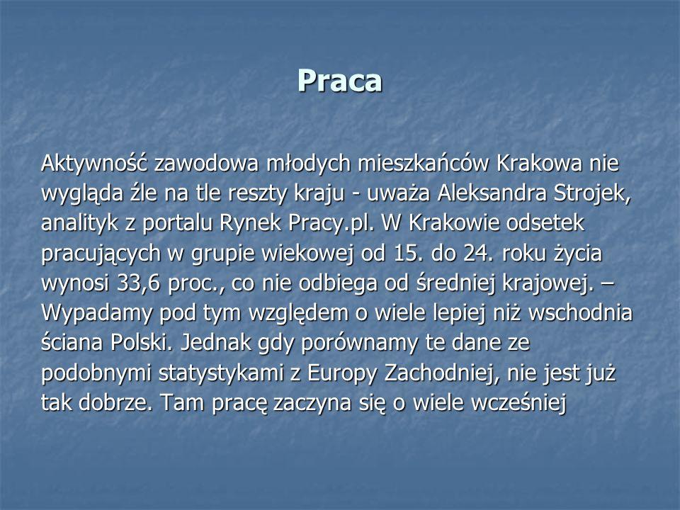 Praca Aktywność zawodowa młodych mieszkańców Krakowa nie wygląda źle na tle reszty kraju - uważa Aleksandra Strojek, analityk z portalu Rynek Pracy.pl