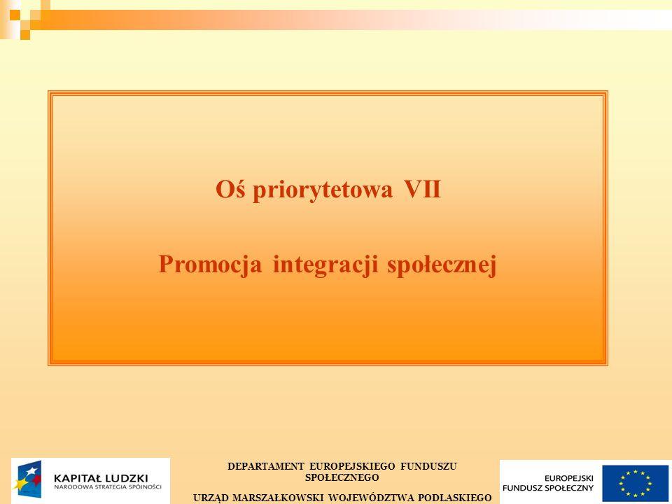 15 Oś priorytetowa VII Promocja integracji społecznej DEPARTAMENT EUROPEJSKIEGO FUNDUSZU SPOŁECZNEGO URZĄD MARSZAŁKOWSKI WOJEWÓDZTWA PODLASKIEGO