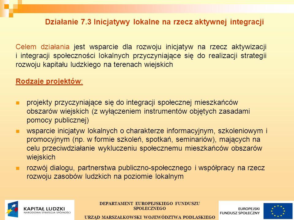 21 Działanie 7.3 Inicjatywy lokalne na rzecz aktywnej integracji Celem działania jest wsparcie dla rozwoju inicjatyw na rzecz aktywizacji i integracji społeczności lokalnych przyczyniające się do realizacji strategii rozwoju kapitału ludzkiego na terenach wiejskich Rodzaje projektów: projekty przyczyniające się do integracji społecznej mieszkańców obszarów wiejskich (z wyłączeniem instrumentów objętych zasadami pomocy publicznej) wsparcie inicjatyw lokalnych o charakterze informacyjnym, szkoleniowym i promocyjnym (np.