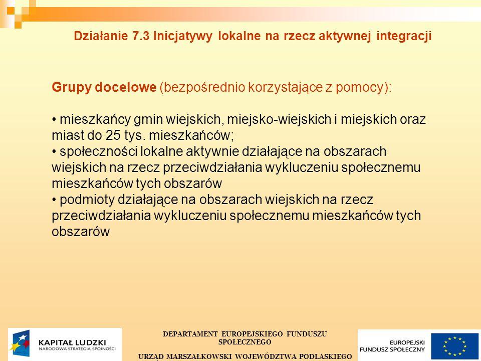 22 Działanie 7.3 Inicjatywy lokalne na rzecz aktywnej integracji DEPARTAMENT EUROPEJSKIEGO FUNDUSZU SPOŁECZNEGO URZĄD MARSZAŁKOWSKI WOJEWÓDZTWA PODLASKIEGO Grupy docelowe (bezpośrednio korzystające z pomocy): mieszkańcy gmin wiejskich, miejsko-wiejskich i miejskich oraz miast do 25 tys.