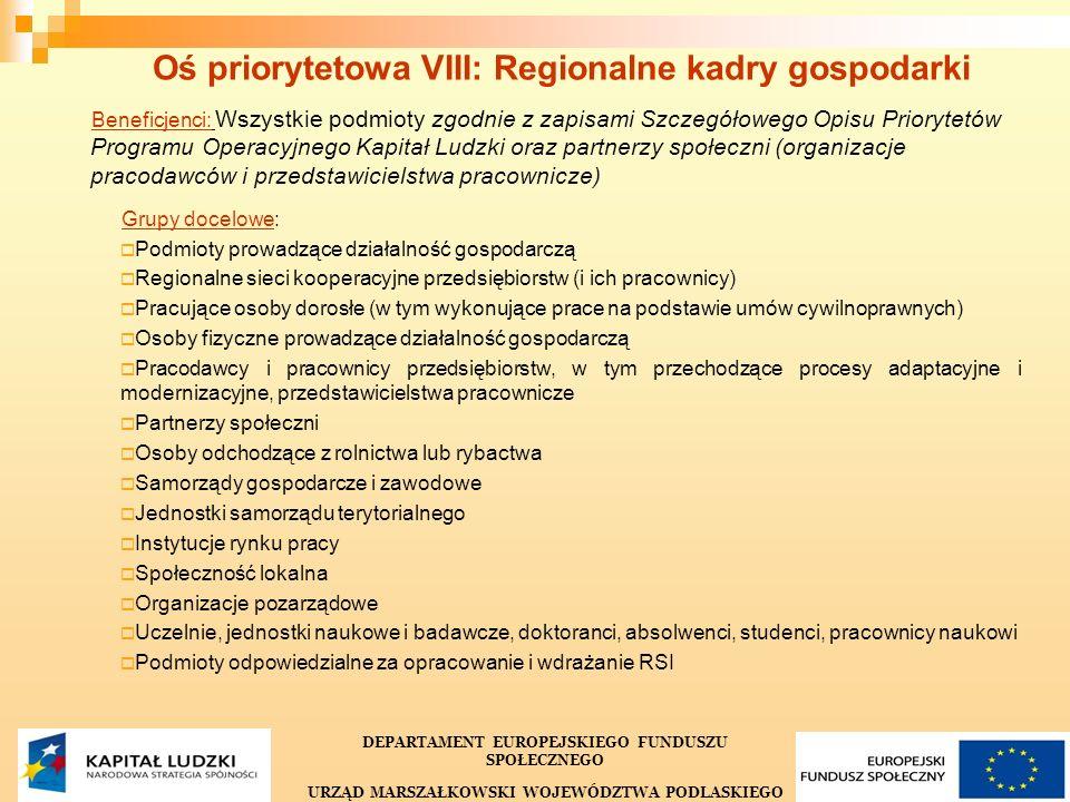 25 Oś priorytetowa VIII: Regionalne kadry gospodarki Beneficjenci: Wszystkie podmioty zgodnie z zapisami Szczegółowego Opisu Priorytetów Programu Operacyjnego Kapitał Ludzki oraz partnerzy społeczni (organizacje pracodawców i przedstawicielstwa pracownicze) Grupy docelowe: Podmioty prowadzące działalność gospodarczą Regionalne sieci kooperacyjne przedsiębiorstw (i ich pracownicy) Pracujące osoby dorosłe (w tym wykonujące prace na podstawie umów cywilnoprawnych) Osoby fizyczne prowadzące działalność gospodarczą Pracodawcy i pracownicy przedsiębiorstw, w tym przechodzące procesy adaptacyjne i modernizacyjne, przedstawicielstwa pracownicze Partnerzy społeczni Osoby odchodzące z rolnictwa lub rybactwa Samorządy gospodarcze i zawodowe Jednostki samorządu terytorialnego Instytucje rynku pracy Społeczność lokalna Organizacje pozarządowe Uczelnie, jednostki naukowe i badawcze, doktoranci, absolwenci, studenci, pracownicy naukowi Podmioty odpowiedzialne za opracowanie i wdrażanie RSI DEPARTAMENT EUROPEJSKIEGO FUNDUSZU SPOŁECZNEGO URZĄD MARSZAŁKOWSKI WOJEWÓDZTWA PODLASKIEGO