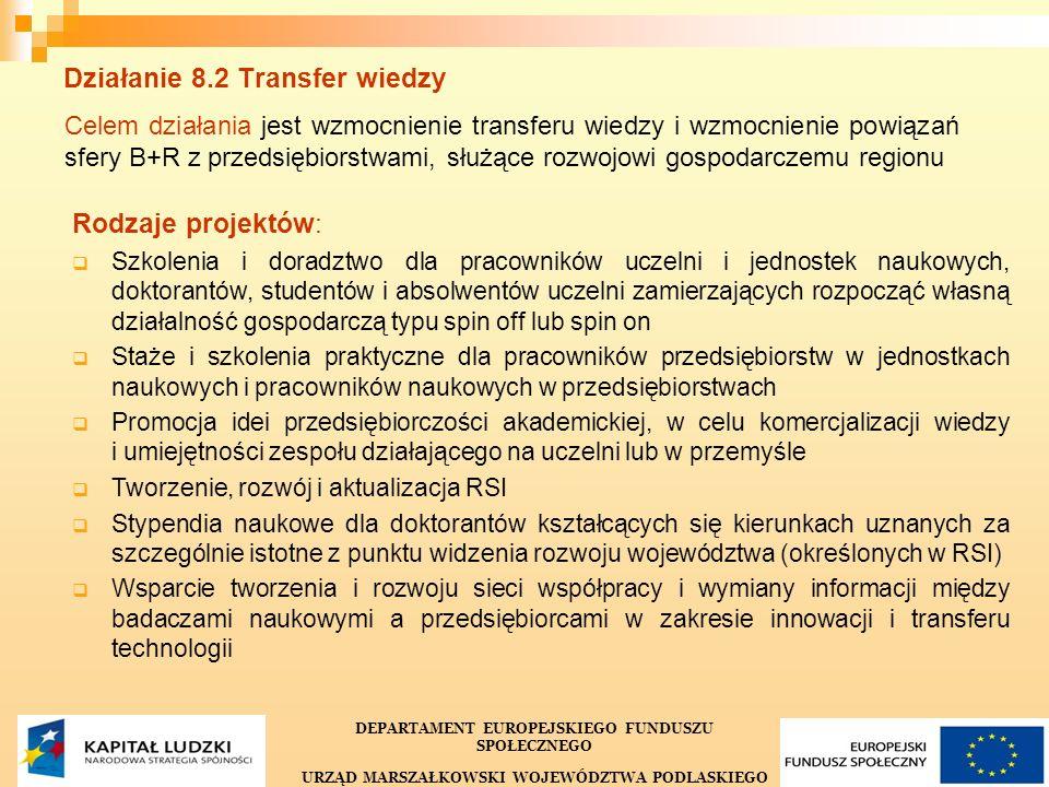 27 Działanie 8.2 Transfer wiedzy Celem działania jest wzmocnienie transferu wiedzy i wzmocnienie powiązań sfery B+R z przedsiębiorstwami, służące rozwojowi gospodarczemu regionu Rodzaje projektów: Szkolenia i doradztwo dla pracowników uczelni i jednostek naukowych, doktorantów, studentów i absolwentów uczelni zamierzających rozpocząć własną działalność gospodarczą typu spin off lub spin on Staże i szkolenia praktyczne dla pracowników przedsiębiorstw w jednostkach naukowych i pracowników naukowych w przedsiębiorstwach Promocja idei przedsiębiorczości akademickiej, w celu komercjalizacji wiedzy i umiejętności zespołu działającego na uczelni lub w przemyśle Tworzenie, rozwój i aktualizacja RSI Stypendia naukowe dla doktorantów kształcących się kierunkach uznanych za szczególnie istotne z punktu widzenia rozwoju województwa (określonych w RSI) Wsparcie tworzenia i rozwoju sieci współpracy i wymiany informacji między badaczami naukowymi a przedsiębiorcami w zakresie innowacji i transferu technologii DEPARTAMENT EUROPEJSKIEGO FUNDUSZU SPOŁECZNEGO URZĄD MARSZAŁKOWSKI WOJEWÓDZTWA PODLASKIEGO