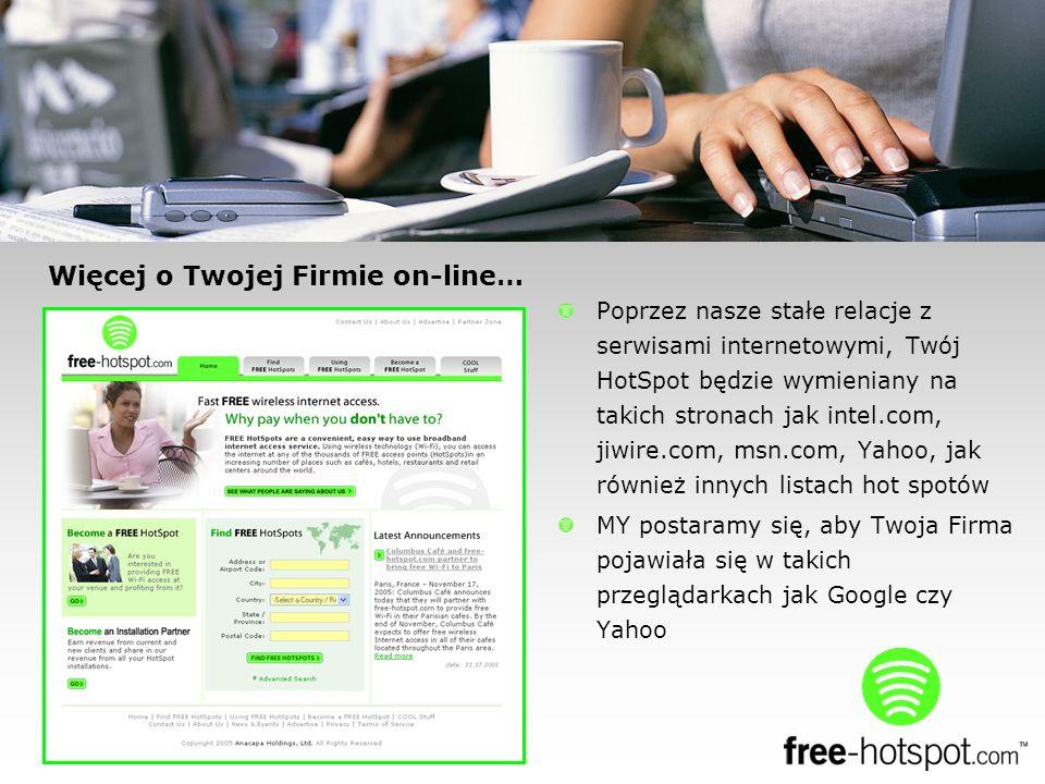 Więcej o Twojej Firmie on-line… Poprzez nasze stałe relacje z serwisami internetowymi, Twój HotSpot będzie wymieniany na takich stronach jak intel.com