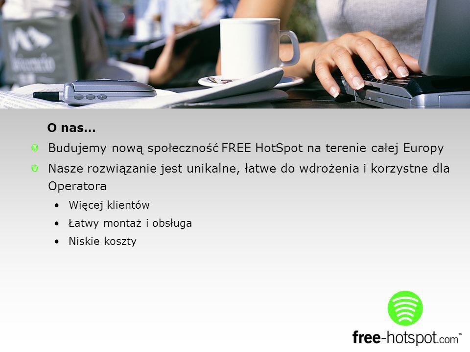 O nas… Budujemy nową społeczność FREE HotSpot na terenie całej Europy Nasze rozwiązanie jest unikalne, łatwe do wdrożenia i korzystne dla Operatora Więcej klientów Łatwy montaż i obsługa Niskie koszty