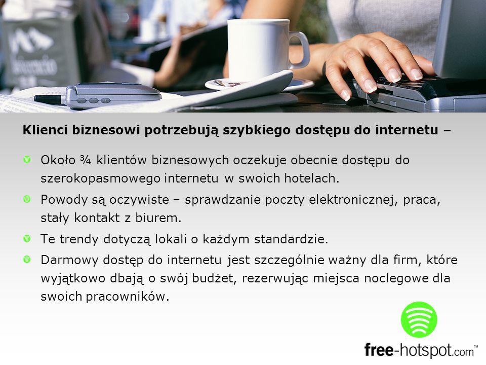 Około ¾ klientów biznesowych oczekuje obecnie dostępu do szerokopasmowego internetu w swoich hotelach.