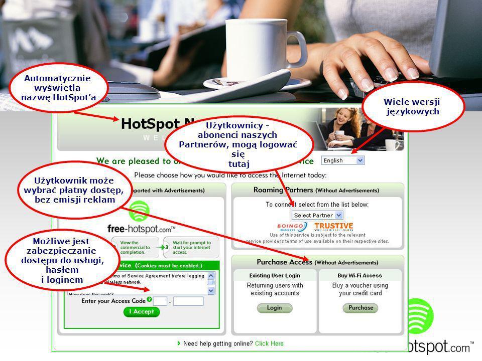Automatycznie wyświetla nazwę HotSpota Użytkownik może wybrać płatny dostęp, bez emisji reklam Możliwe jest zabezpieczanie dostępu do usługi, hasłem i loginem Wiele wersji językowych Użytkownicy - abonenci naszych Partnerów, mogą logować się tutaj