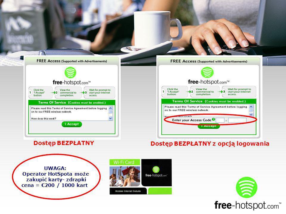 UWAGA: Operator HotSpota może zakupić karty- zdrapki cena = 200 / 1000 kart Dostęp BEZPŁATNY Dostęp BEZPŁATNY z opcją logowania