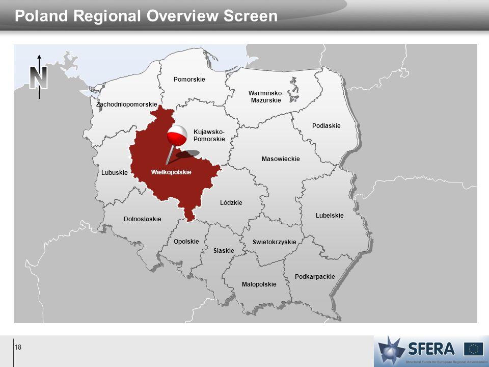 18 Poland Regional Overview Screen Warminsko- Mazurskie Wielkopolskie Malopolskie Podkarpackie Pomorskie Zachodniopomorskie Podlaskie Kujawsko- Pomors